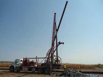 Installing Deep Well for Dewatering