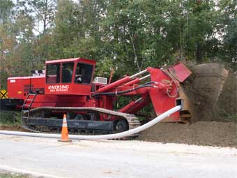 One Pass Trenching Sock Installation for Drainage Road Construction